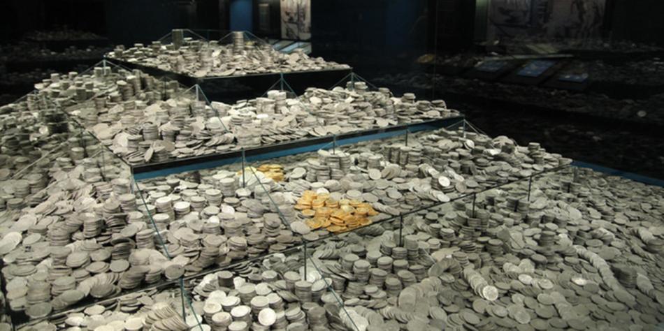 El tesoro de la fragata Mercedes tal como se expuso en Madrid. (Efe