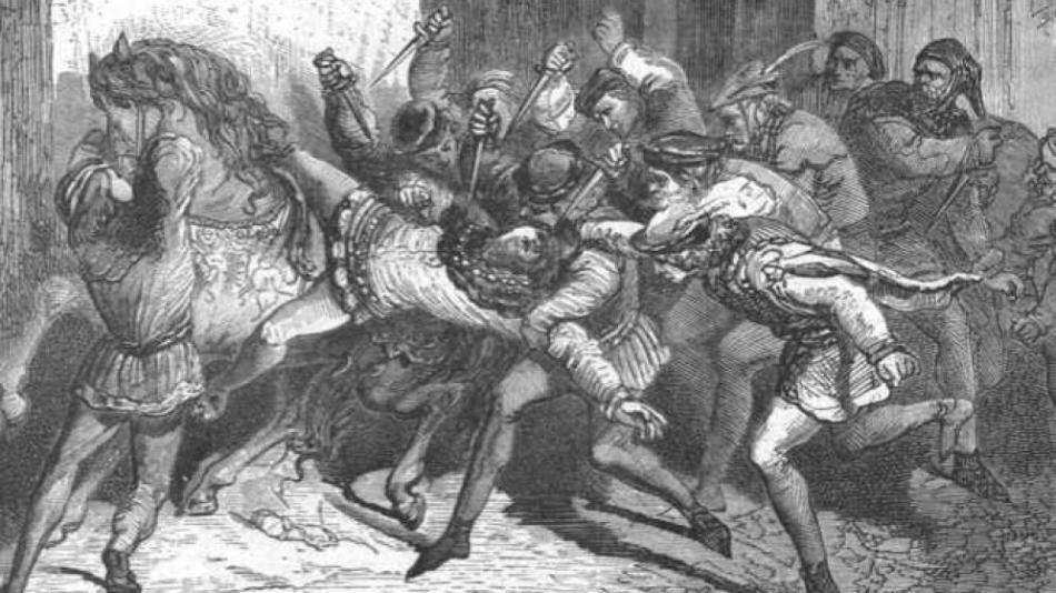 Grabado sobre el asesinato de Louis de Orléans realizado por Paul Lehugeur en el siglo XIX.