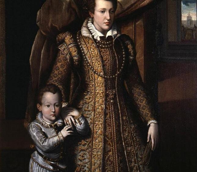 El pequeño Don Filippino, con su madre Juana de Austria, en un retrato póstumo.