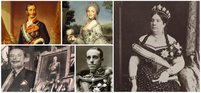 Alfonso XII, Maria Luisa de Parma, Isabel II, Leandro de Borbón y Alfonso XIII.