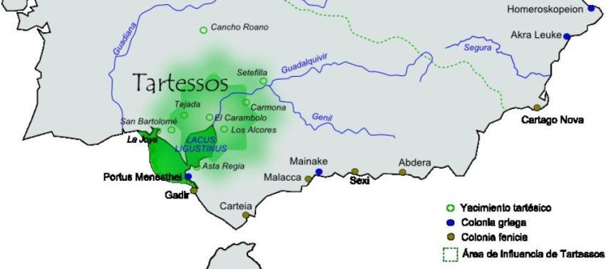 Área aproximada de extensión e influencia de la civilización de Tartessos. (CC/Té y kriptonita)