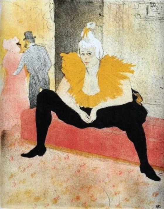 La mujer se sienta payaso, Enrique de Toulouse-Lautrec (1896)