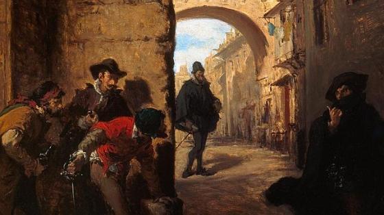 Óleo de Lorenzo Vallés que recrea la emboscada que los sicarios de Antonio Pérez hicieron a Juan de Escobedo - Museo Municipal, Málaga